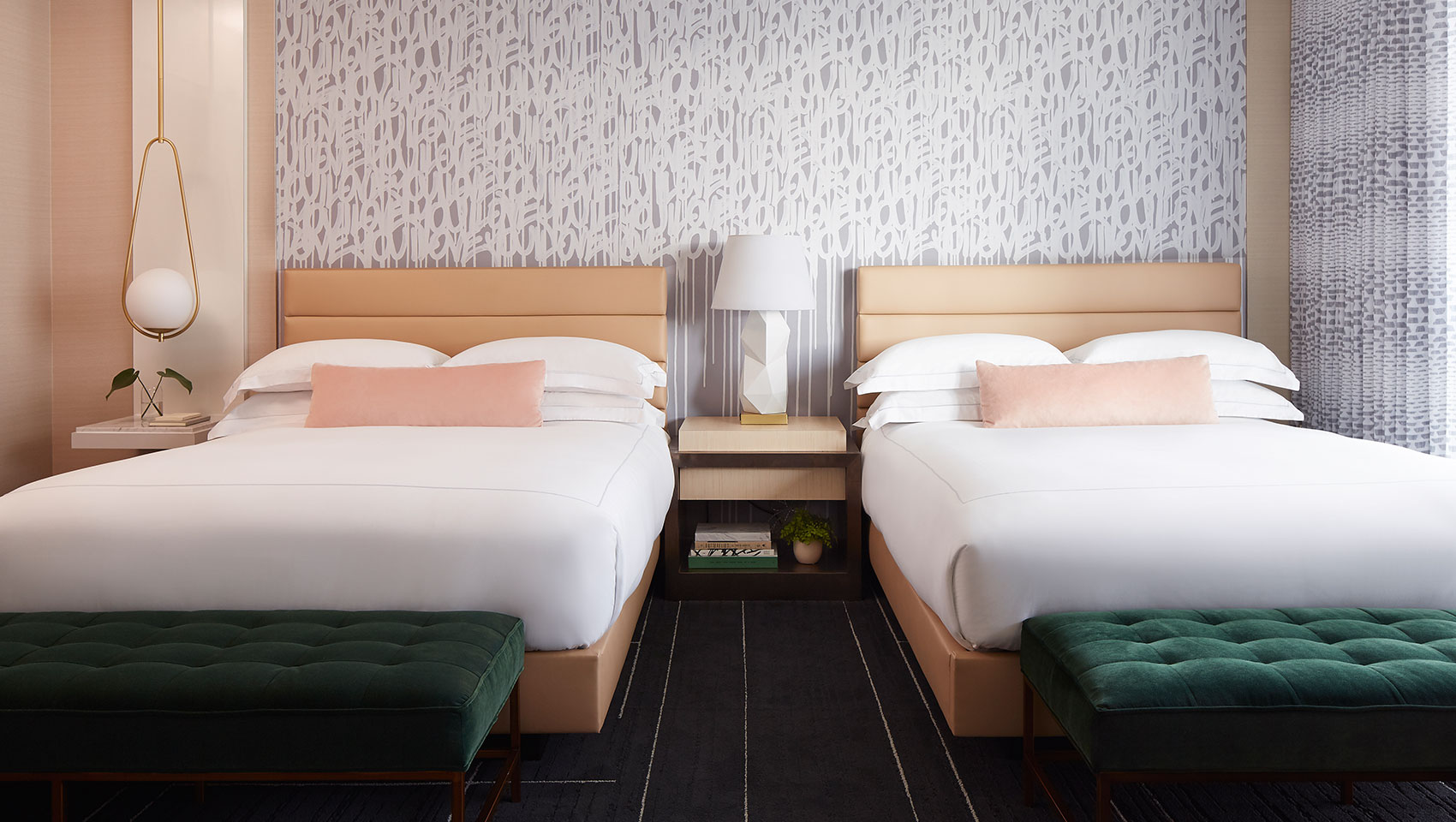 hotel guestroom with two queen beds