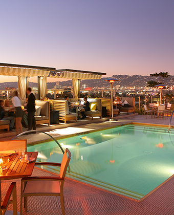 social events at Kimpton Hotel Wilshire rooftop pool deck