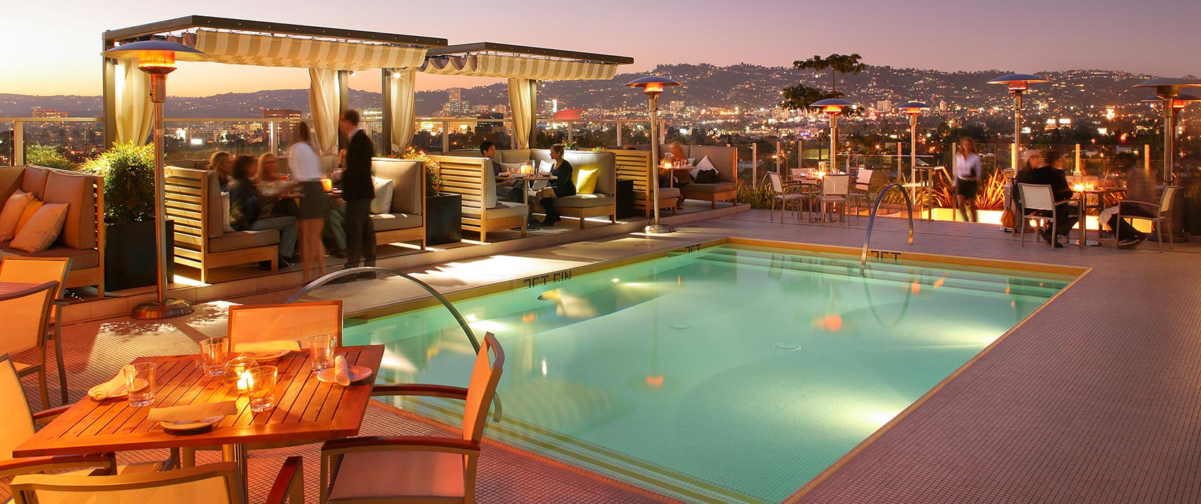 Kimpton Hotel Wilshire roof top fire pit