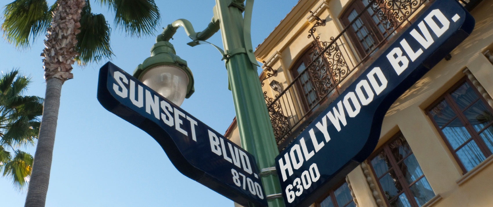 sunset and hollywood street sign